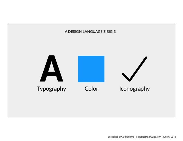 ATypography Color Iconography A DESIGN LANGUAGE'S BIG 3 Enterprise UX.Beyond the Toolkit.Nathan Curtis.key - June 6, 2016