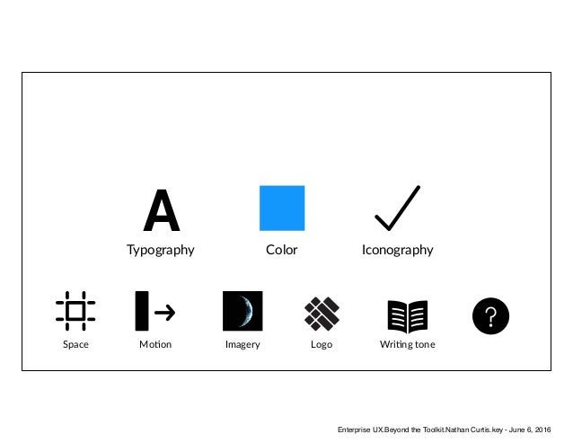ATypography Color Iconography Space MoAon Imagery Logo WriAng tone Enterprise UX.Beyond the Toolkit.Nathan Curtis.key - Ju...