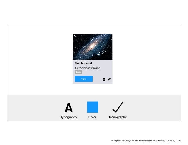 ATypography Color Iconography VIEW The Universe! It's the biggest place. Space Enterprise UX.Beyond the Toolkit.Nathan Cur...