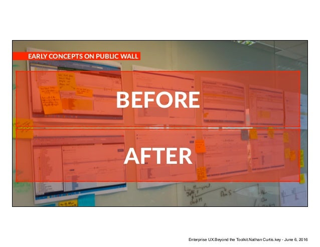 BEFORE AFTER EARLY CONCEPTS ON PUBLIC WALL Enterprise UX.Beyond the Toolkit.Nathan Curtis.key - June 6, 2016
