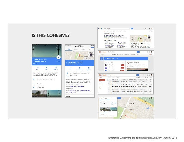 IS THIS COHESIVE? Enterprise UX.Beyond the Toolkit.Nathan Curtis.key - June 6, 2016