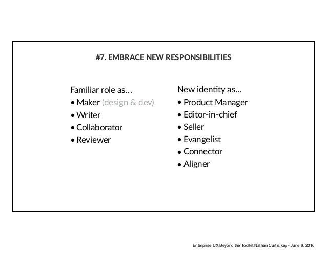 Familiar role as… • Maker (design & dev) • Writer • Collaborator • Reviewer #7. EMBRACE NEW RESPONSIBILITIES New idenAty a...