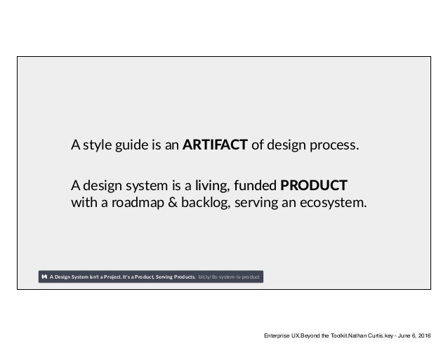 A style guide is an ARTIFACT of design process. A design system is a living, funded PRODUCT with a roadmap & backlog, serv...