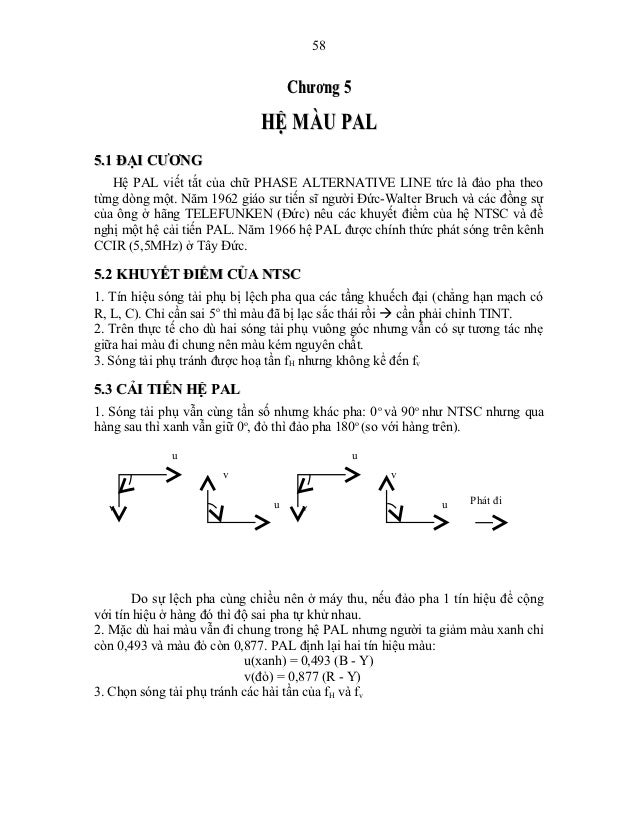 58                                   Chương 5                             HỆ MÀU PAL5.1 ĐẠI CƯƠNG   Hệ PAL viết tắt của ch...
