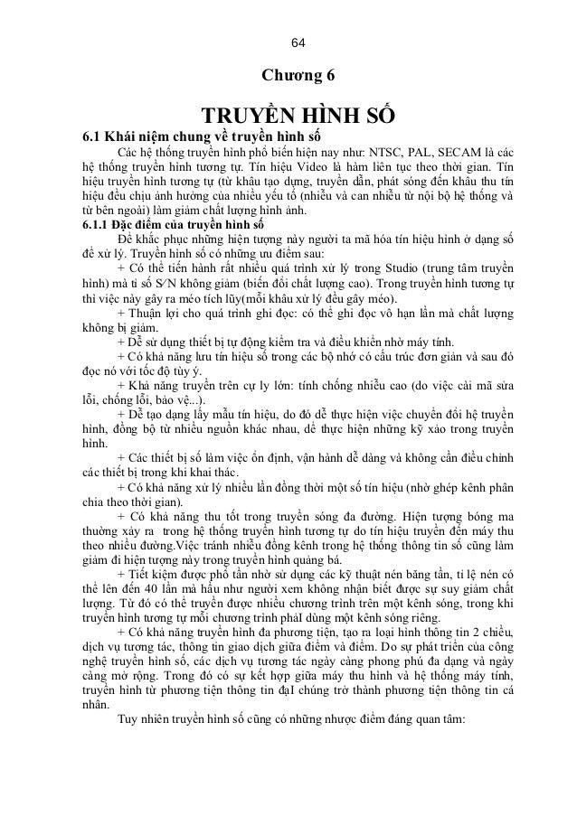 64                                   Chương 6                       TRUYỀN HÌNH SỐ6.1 Khái niệm chung về truyền hình số   ...