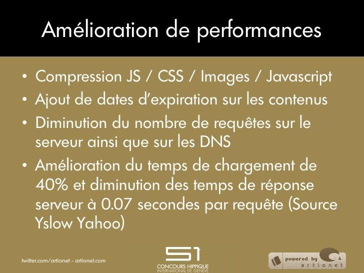 Amélioration de performances• Compression JS / CSS / Images / Javascript• Ajout de dates d'expiration sur les contenus•...