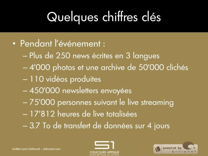 Quelques chiffres clés• Pendant l'événement :       – Plus de 250 news écrites en 3 langues       – 4'000 photos et une...