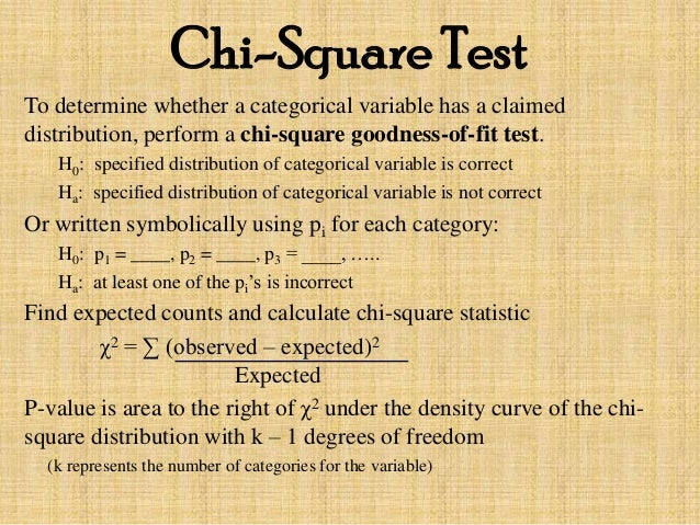 the chi square goodness of fit test As you see, this test is almost identical to the chi-square test for association the only difference between the two is that the test for goodness of fit used an expected distribution that the specified a priori.