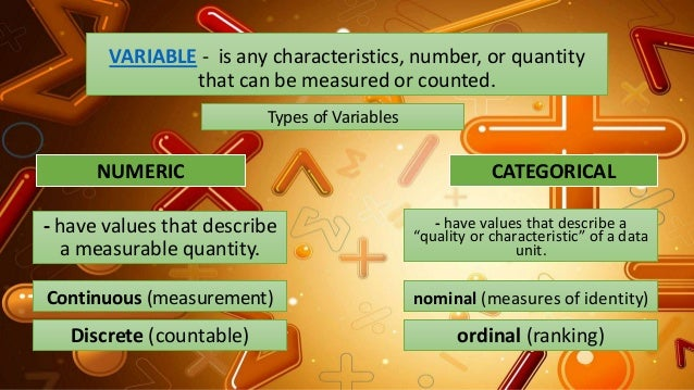 VARIABLE - is any characteristics, number, or quantity that can be measured or counted. Types of Variables NUMERIC CATEGOR...