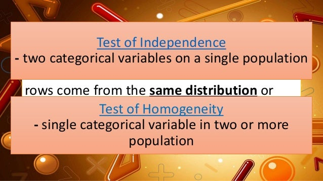The test for HOMOGENEITY checked if the rows come from the same distribution or appear to come from different distribution...