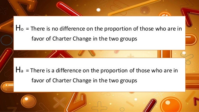 Ho = There is no difference on the proportion of those who are in favor of Charter Change in the two groups Ha = There is ...