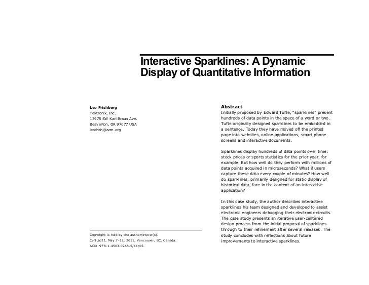 Interactive Sparklines: A Dynamic                              Display of Quantitative InformationLeo Frishberg           ...