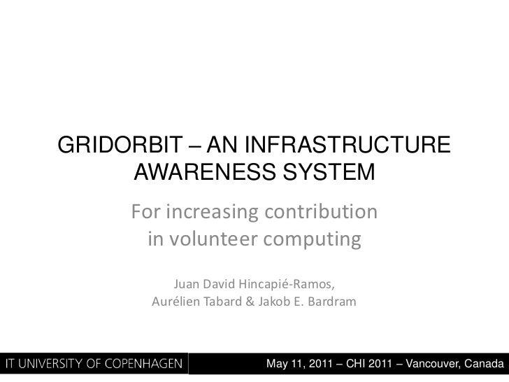 GridOrbit – An Infrastructure awareness System<br />For increasing contribution in volunteercomputing<br />Juan David Hinc...
