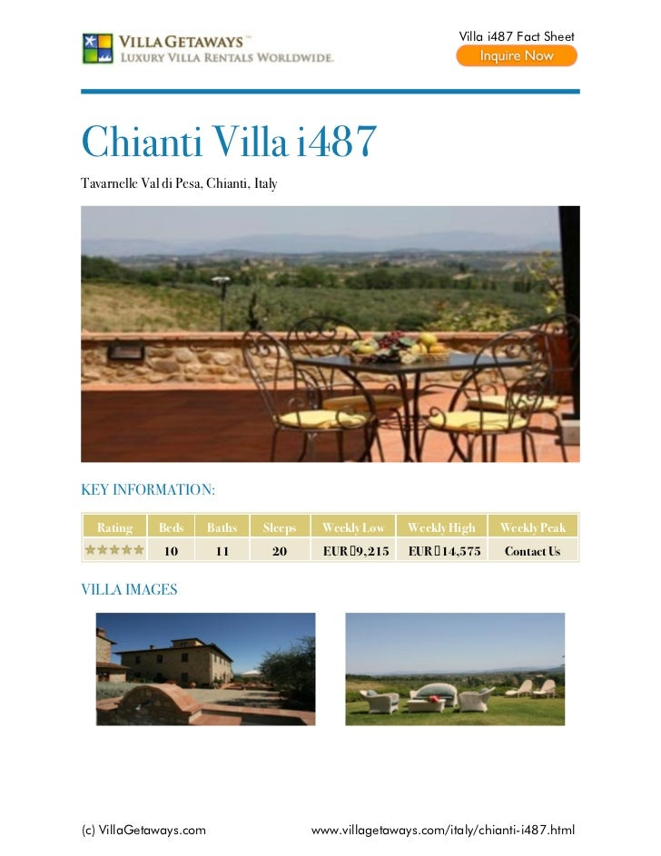 Villa i487 Fact SheetChianti Villa i487Tavarnelle Val di Pesa, Chianti, ItalyKEY INFORMATION:   Rating     Beds      Baths...