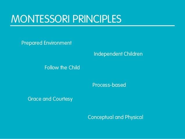 MONTESSORI PRINCIPLES Prepared Environment                               Independent Children          Follow the Child   ...