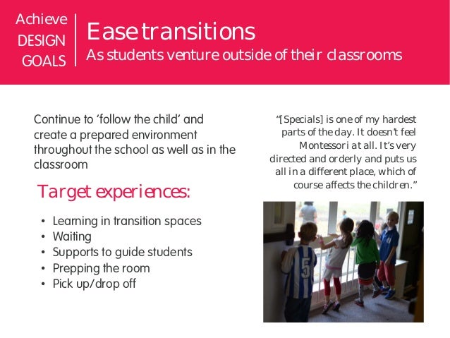 AchieveDESIGN       Ease transitionsGOALS        As students venture outside of their classrooms  Continue to 'follow the ...