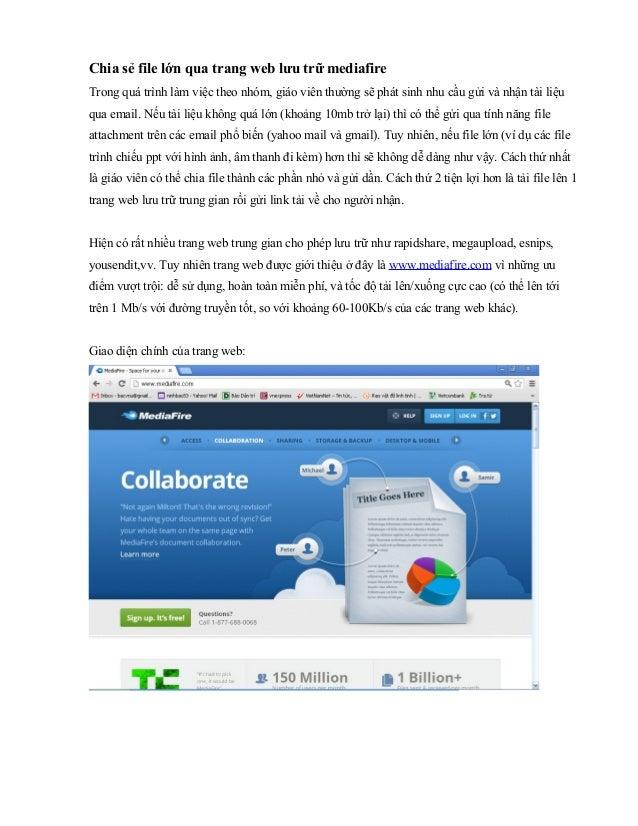 Chia sẻ file lớn qua trang web lưu trữ mediafireTrong quá trình làm việc theo nhóm, giáo viên thường sẽ phát sinh nhu cầu ...