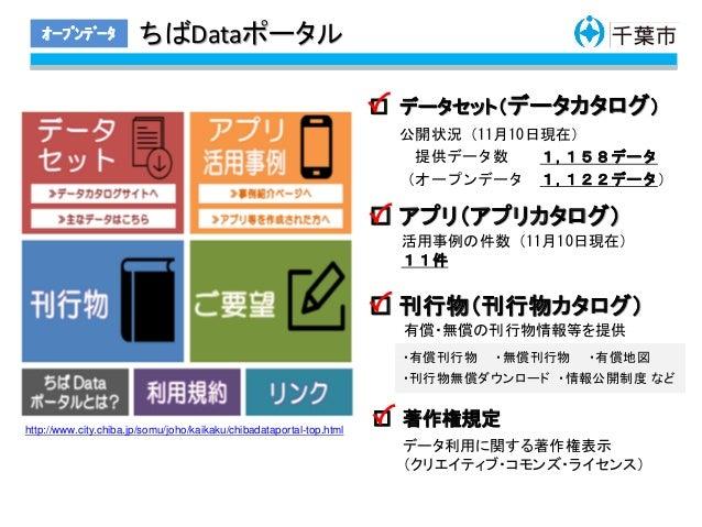 ちばDataポータルオープンデータ http://www.city.chiba.jp/somu/joho/kaikaku/chibadataportal-top.html □ データセット(データカタログ) □ アプリ(アプリカタログ) □...