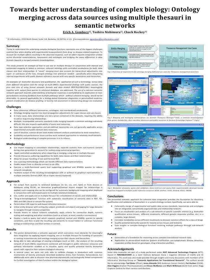 Towards better understanding of complex biology: Ontology        merging across data sources using multiple thesauri in   ...