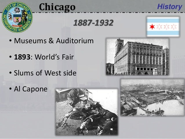 Chicago History • Museums & Auditorium • 1893: World's Fair • Slums of West side • Al Capone 1887-1932