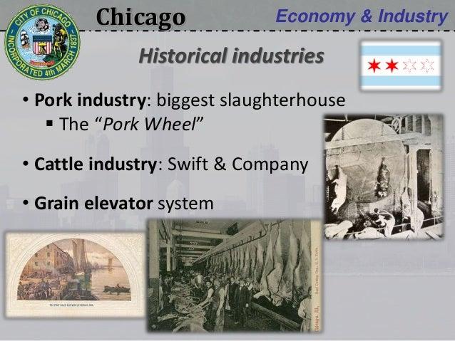 "Chicago Economy & Industry • Pork industry: biggest slaughterhouse  The ""Pork Wheel"" • Cattle industry: Swift & Company •..."