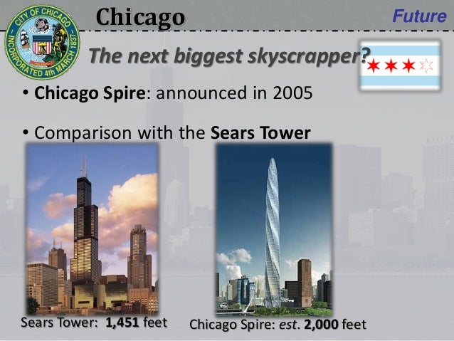 Chicago Future • Chicago Spire: announced in 2005 • Comparison with the Sears Tower The next biggest skyscrapper? Chicago ...