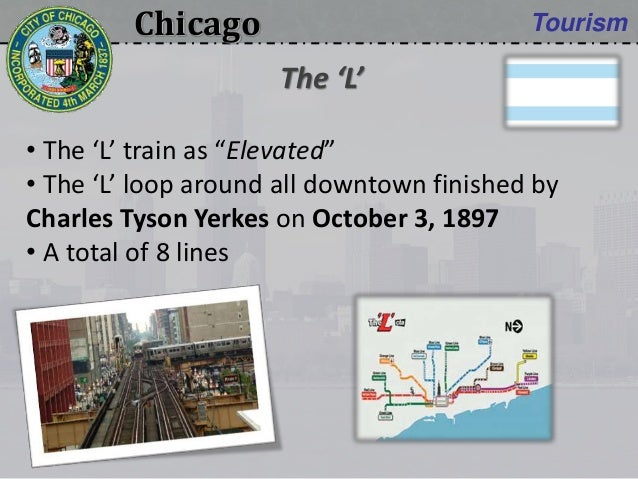 """Chicago Tourism • The 'L' train as """"Elevated"""" • The 'L' loop around all downtown finished by Charles Tyson Yerkes on Octob..."""