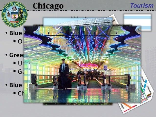 Chicago Tourism • Blue line:  Old St Patrick church • Green line:  United Center sports arena  Garfield Park Conservato...