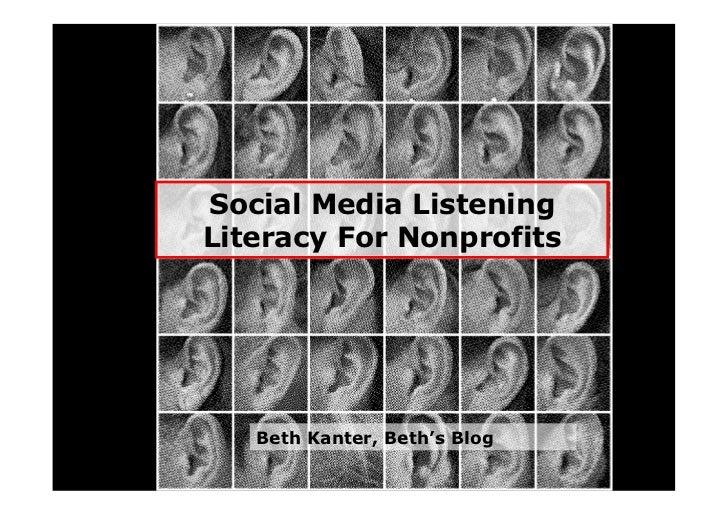 Social Media Listening Literacy For Nonprofits        Beth Kanter, Beth's Blog