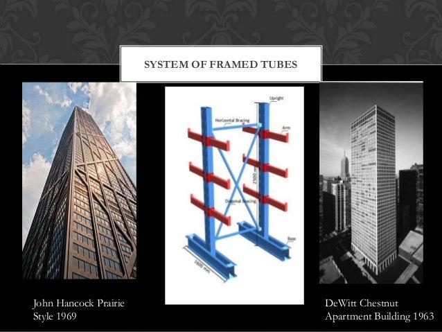 SYSTEM OF FRAMED TUBES  John Hancock Prairie Style 1969  DeWitt Chestnut Apartment Building 1963