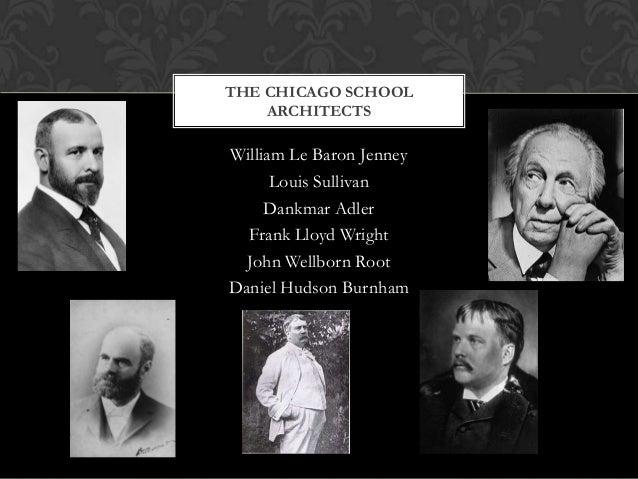 THE CHICAGO SCHOOL ARCHITECTS  William Le Baron Jenney Louis Sullivan Dankmar Adler Frank Lloyd Wright John Wellborn Root ...