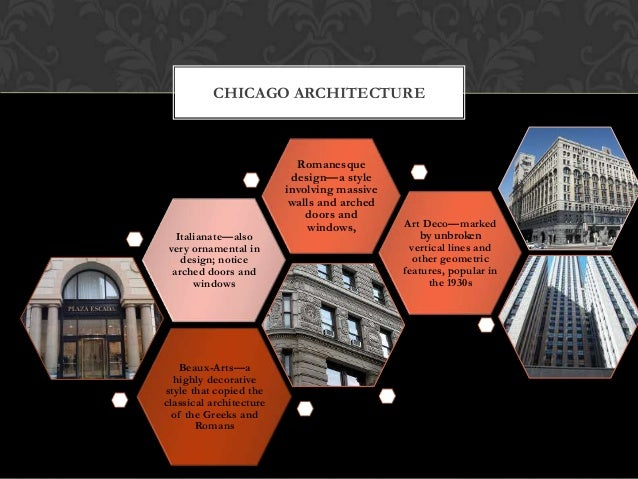 CHICAGO ARCHITECTURE  Italianate—also very ornamental in design; notice arched doors and windows  Beaux-Arts—a highly deco...