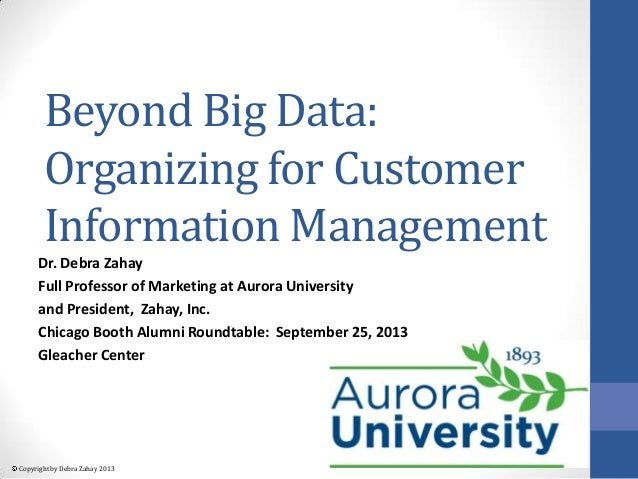 Copyright by Debra Zahay 2013 Beyond Big Data: Organizing for Customer Information Management Dr. Debra Zahay Full Profess...