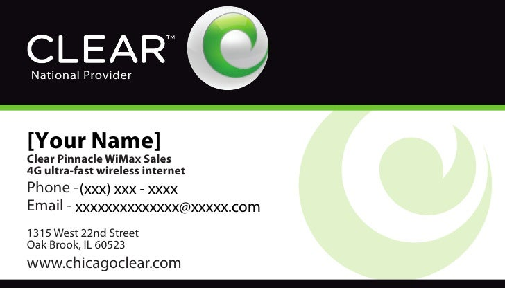 National Provider     [Your Name] Clear Pinnacle WiMax Sales 4G ultra-fast wireless internet Phone - (xxx) xxx - xxxx Emai...