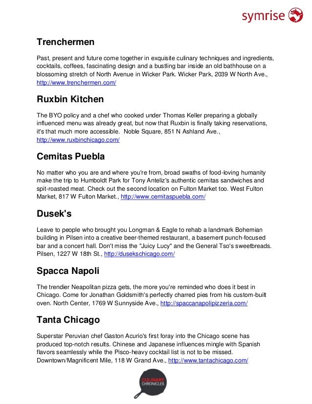 Where to Eat & Drink in Chicago 2016 Slide 2