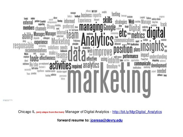 Chicago IL (only steps from the train) Manager of Digital Analytics - http://bit.ly/MgrDigital_Analytics                  ...