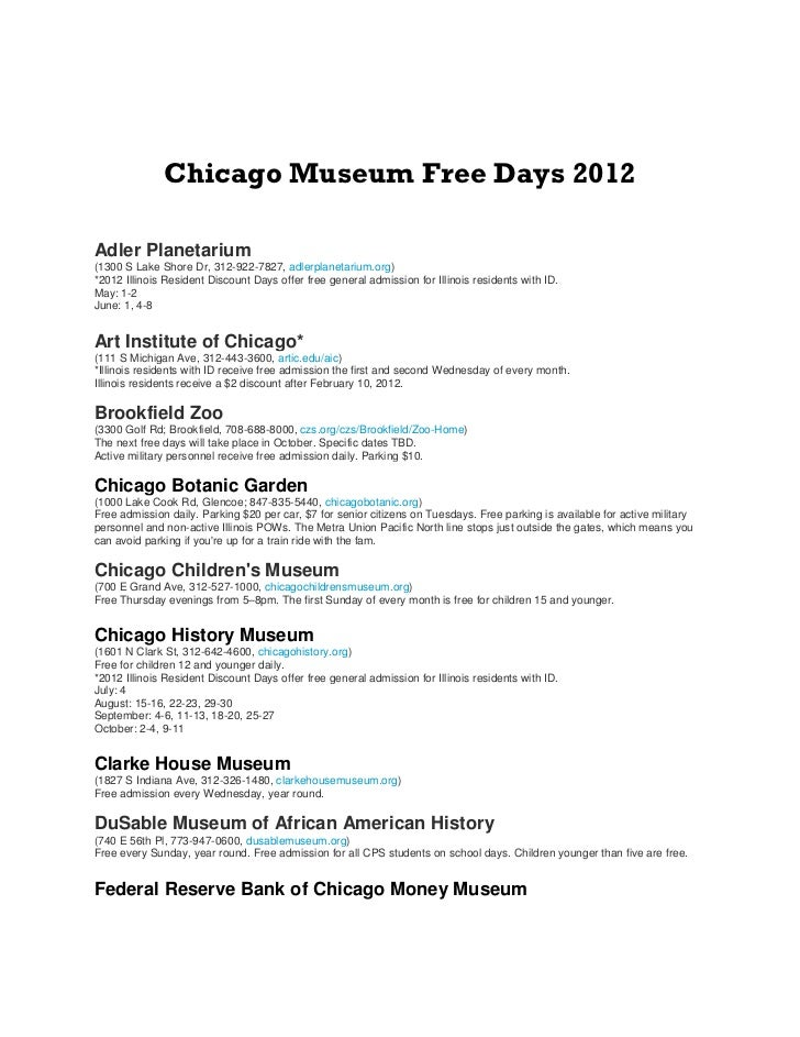 Chicago Museum Free Days 2012