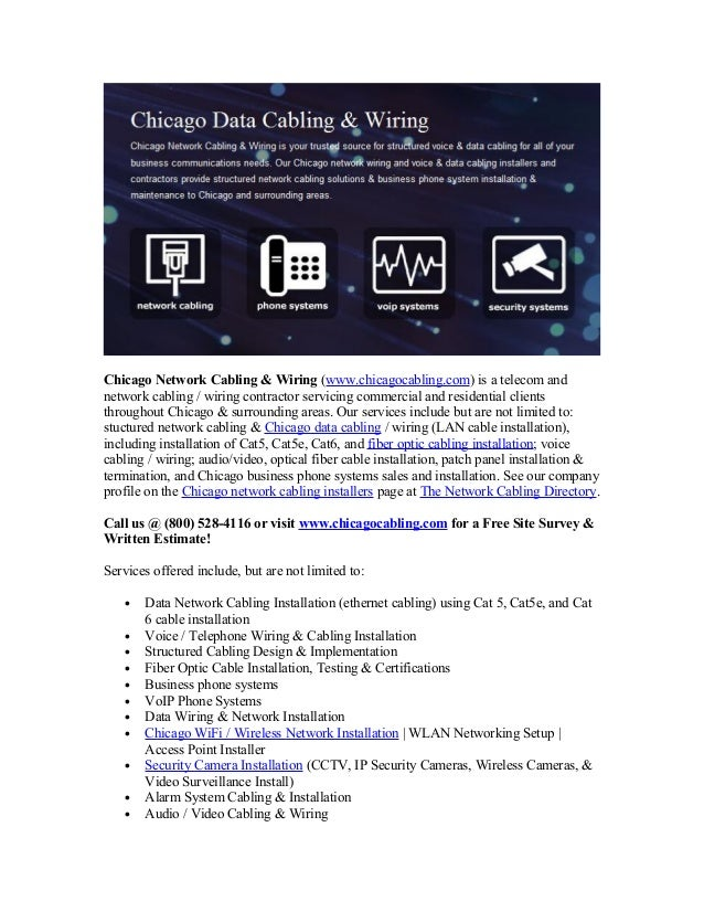 Chicago Network Cabling & Wiring (www.chicagocabling.com) is a telecom and network cabling / wiring contractor servicing c...