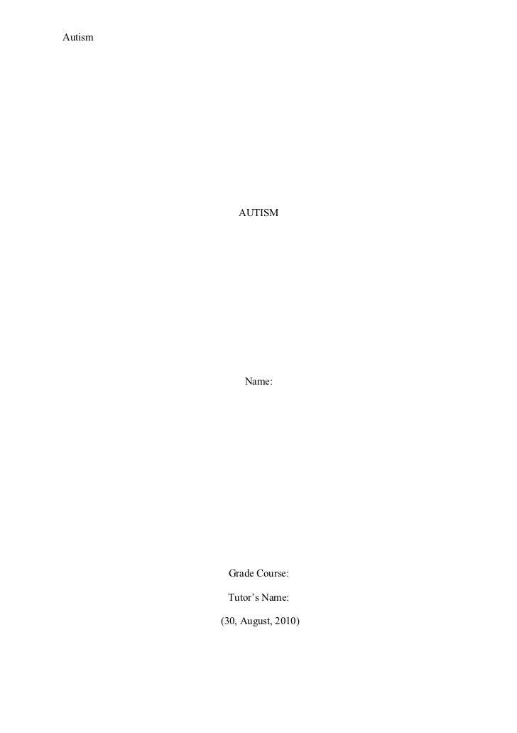 Autism Essay Rubric (DOC)