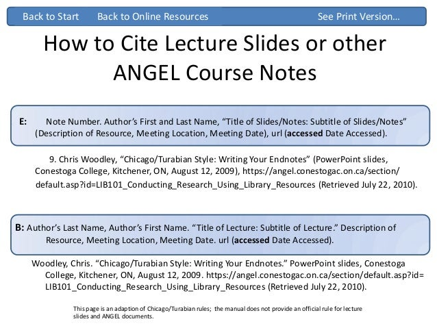 Guide: How to cite a Presentation or lecture in Chicago Manual of Style 16th edition (note) style