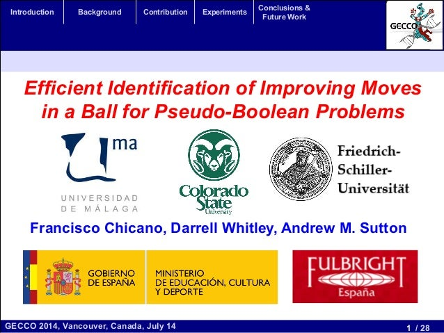 1 / 28GECCO 2014, Vancouver, Canada, July 14 Introduction Background Contribution Experiments Conclusions & Future Work Ef...