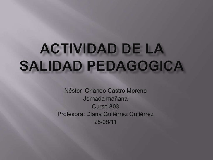 ACTIVIDAD DE LA SALIDAD PEDAGOGICA<br />Néstor  Orlando Castro Moreno<br />Jornada mañana<br />Curso 803<br />Profesora: D...