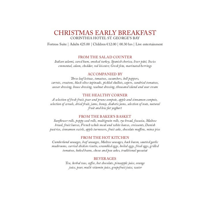 Corinthia Hotels, Malta christmas brochure 2011