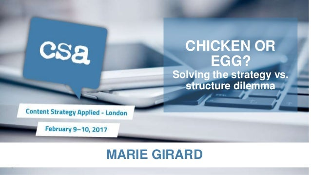 MARIE GIRARD CHICKEN OR EGG? Solving the strategy vs. structure dilemma 1