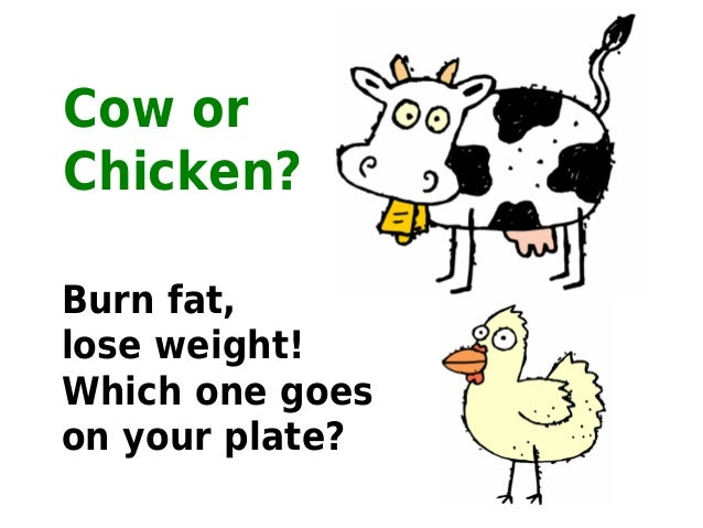 Cow orChicken?Burn fat,lose weight!Which one goeson your plate?