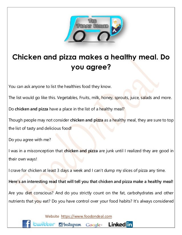 Chicken And Pizza Makes A Healthy Meal Do You Agree