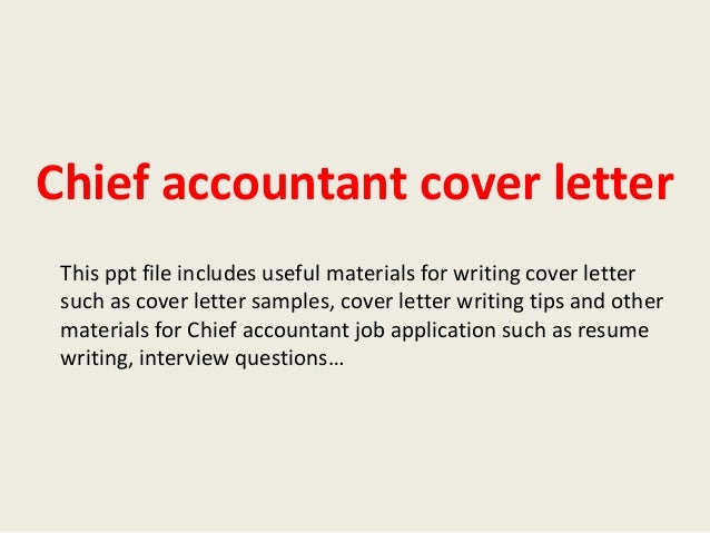 cover letter for cv chief accountant