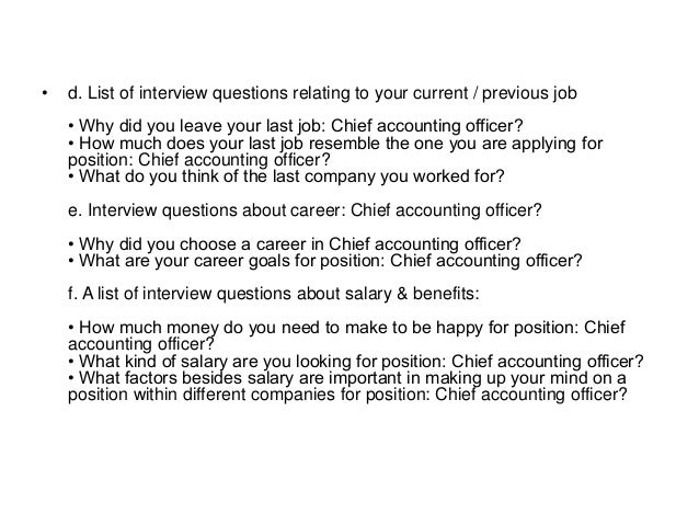 Chief accountant interview questions and answers