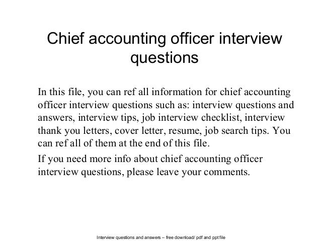 interview questions and answers free download pdf and ppt file chief accounting officer interview - Chief Accounting Officer Resume