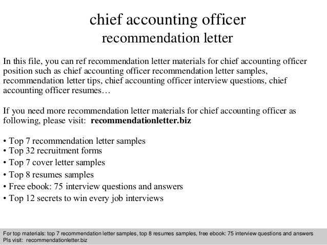 chief accounting officer recommendation letter